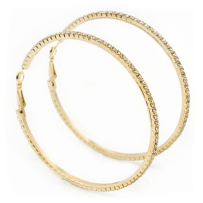 Large Slim Austrian Crystal Hoop Earrings In Gold Plating - 7cm D