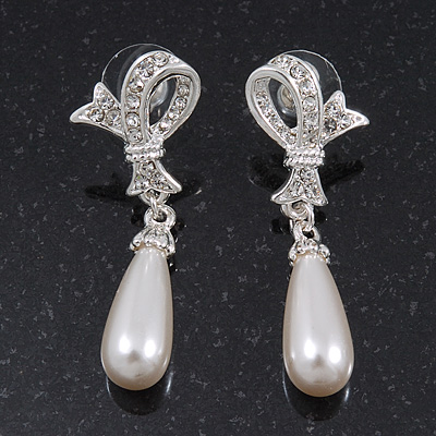 Clear Diamante Simulated Pearl Modern 'Bow' Drop Earrings In Rhodium Plating - 4.5cm Length