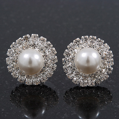 Round Classic Diamante Simulated Pearl Stud Earrings In Rhodium Plating - 15mm Diameter