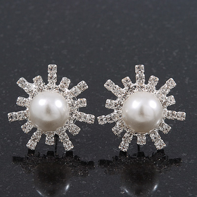 Clear Diamante Simulated Pearl 'Star' Stud Earrings In Rhodium Plating - 2cm Diameter