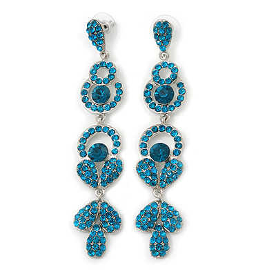 Long Luxury Teal Crystal Drop Earrings In Rhodium Plating - Length 9cm