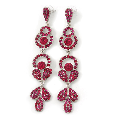 Long Luxury Magenta Crystal Drop Earrings In Rhodium Plating - Length 9cm