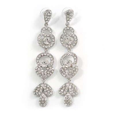 Long Luxury Clear Crystal Drop Earrings In Rhodium Plating - Length 9cm