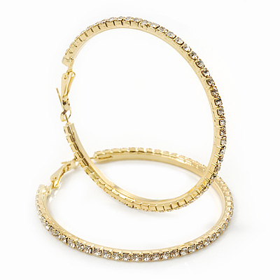 Clear Crystal 'Hoop' Earrings In Gold Plating - 5cm D