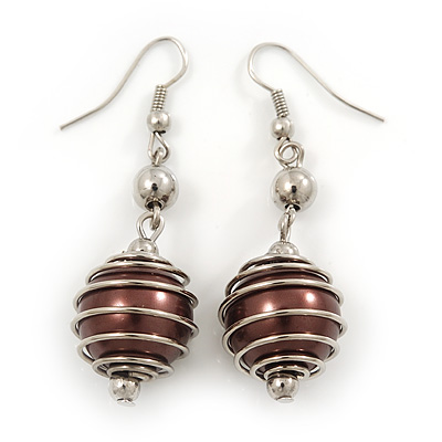 Silver Tone Chocolate Brown Faux Pearl Drop Earrings - 5.5cm Drop