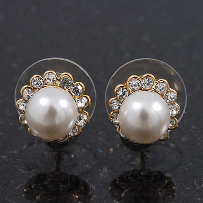 Teen Small Diamante, Simulated Pearl Stud Earrings In Gold Plating - 10mm Diameter