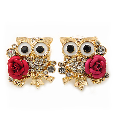 'Wise Owl With Rose' Crystal Paved Stud Earrings In Gold Plating - 2cm Length - main view
