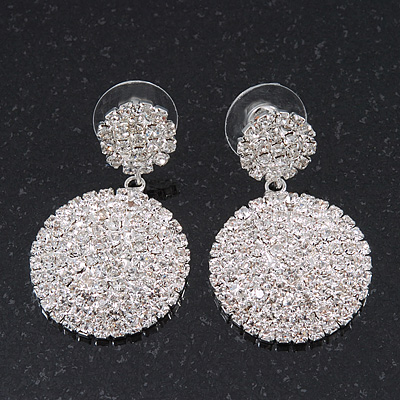 Bridal Pave-Set Clear Crystal Round Drop Earrings In Rhodium Plating - 3.5cm Length