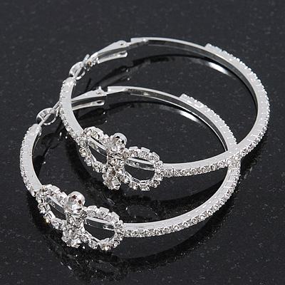 Rhodium Plated Clear Crystal 'Infinity' Hoop Earrings - 5cm Diameter