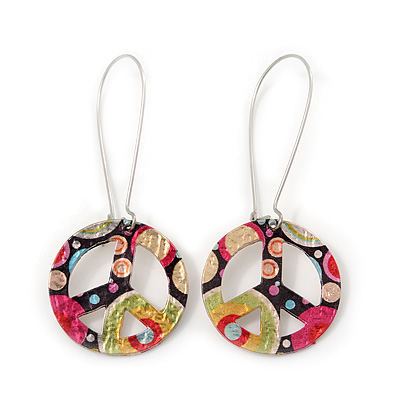 Multicoloured 'Peace' Drop Earrings In Silver Plating - 6cm Length