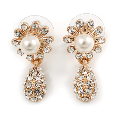 Clear Diamante Simulated Pearl 'Flower' Drop Earrings In Gold Plating - 2cm Length - main view