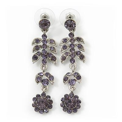 Delicate Amethyst Crystal Floral Drop Earrings In Rhodium Plating - 5.5cm Length