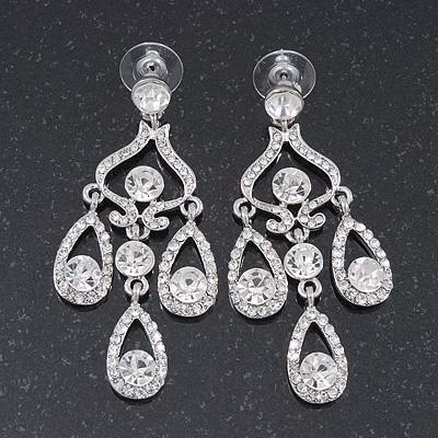 Bridal Clear Crystal Chandelier Earrings In Rhodium Plating - 6cm Length