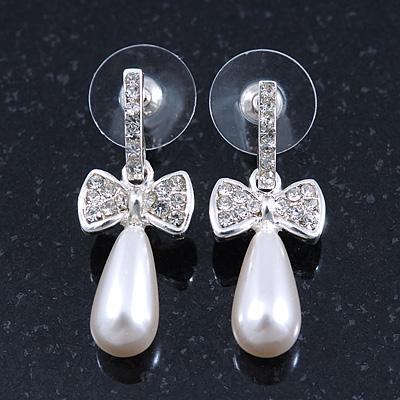 Delicate Teen Crystal, Simulated Pearl 'Bow' Stud Earrings In Rhodium Plating - 3cm Length