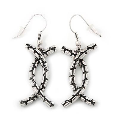 Ethnic Burn Silver Hammered 'Cross' Drop Earrings - 5cm Length