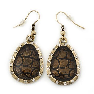 Vintage 'Cracked Effect' Diamante Teardrop Earrings In Burn Gold - 4.5cm Length - main view