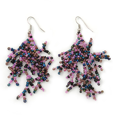 Boho Pink/Peacock Glass Bead Drop Earrings In Silver Plating - 7cm Length