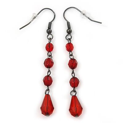 Red Acrylic Bead Drop Earrings In Gun Metal - 6cm Length