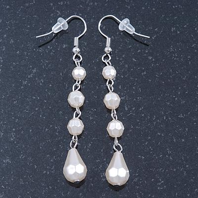 Cream White Acrylic Bead Drop Earrings In Gun Metal - 6cm Length