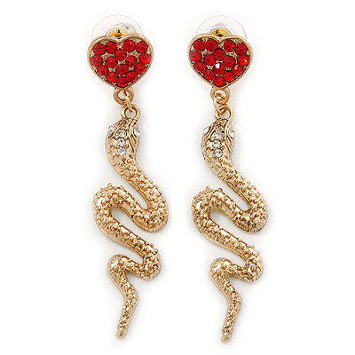 Exquisite Snake With Red Crystal Heart Drop Earrings In Gold Plating - 7cm Length - main view