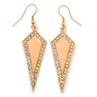 AB Crystal Apricot Spike Drop Earrings In Gold Plating - 6cm Length