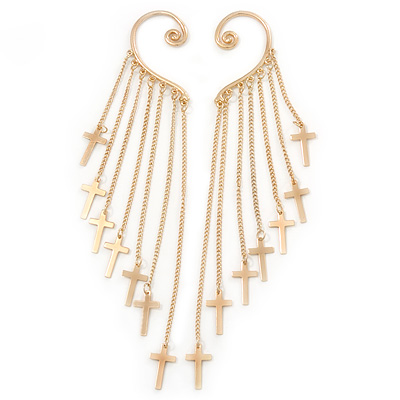 One Pair Long Cross Chain Drop Ear Hook Cuff Earring In Gold Plating - 15cm Length