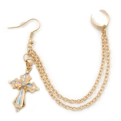One Piece Cross & Chain Ear Cuff In Gold Plating
