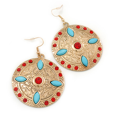 Red Crystal Round, Hammered With Light Blue Acrylic Bead Drop Earrings In Gold Plating - 6.5cm Length - main view