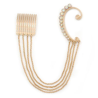 1 Pc AB Crystal Ear Cuff With Comb In Gold Plating - Only For The Right Ear - main view