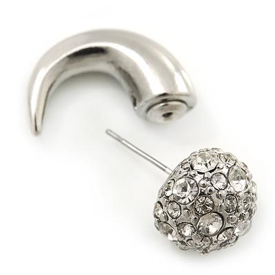 2.5cm Len Silver Plated Faux Horn Flash Tunnel Plug Crystal Ball Stud Earrings