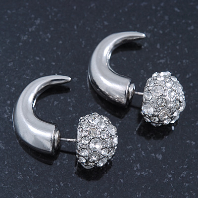 Silver Plated Faux Horn Flash Tunnel Plug Crystal Ball Stud Earrings - 2.5cm Length