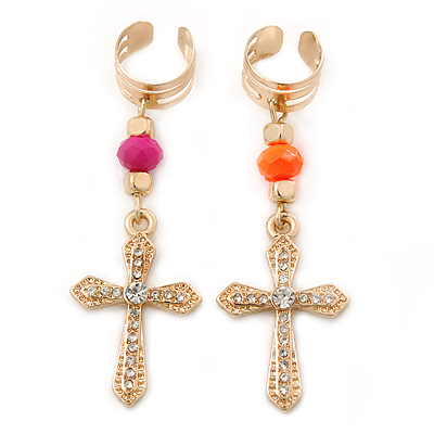 2 Piece Crystal Neon Pink/ Neon Orange Cross Ear Cuff Earring - 35mm Length