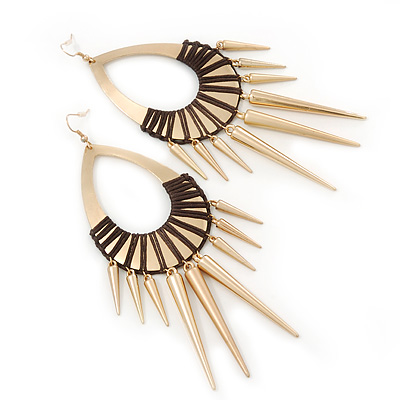 Oversized Spike Oval Hoop Earrings With Brown Cotton Cord In Gold Plating - 13cm Length - main view
