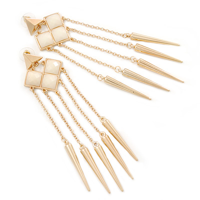 Long Milky White Acrylic Bead Spike Dangle Earrings In Gold Plating - 12cm Length