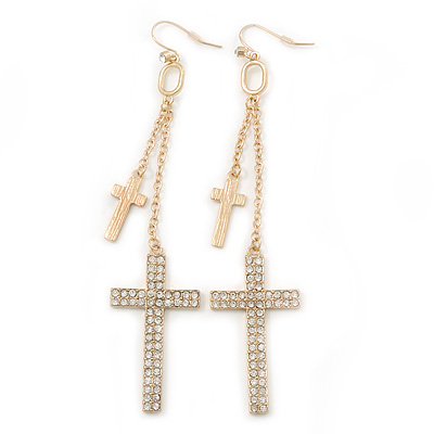 Long Pave Set Crystal Double Cross Chain Drop Earrings In Gold Plating - 11.5cm Length - main view
