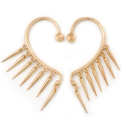 One Pair Dangle Spike Hook Cuff Earring In Gold Plating