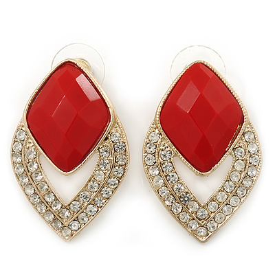 Diamante Red Acrylic Bead Diamond Shape Stud Earrings In Gold Plating - 37mm Length - main view