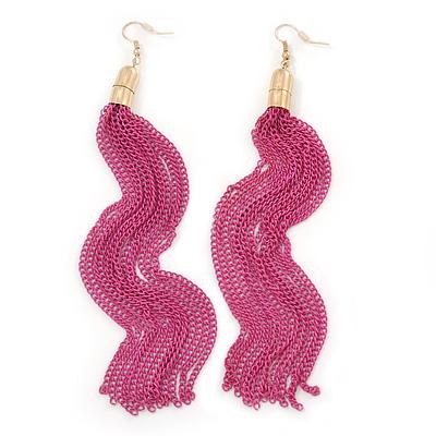 Long Fuchsia Chain Tassel Earrings In Gold Plating - 17cm Length