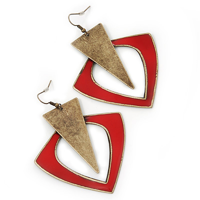 Oversized Red Enamel Geometric Drop Earrings In Burn Gold Metal - 8cm Length