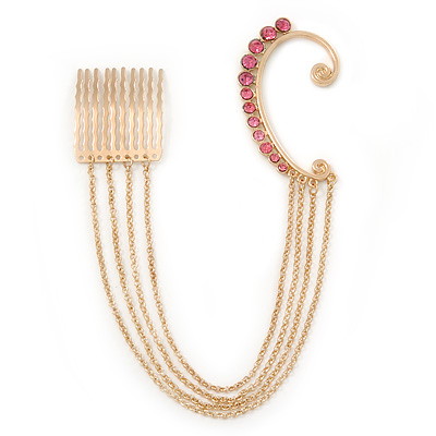 1 Pc Pink Crystal Ear Cuff With Comb In Gold Plating - Only For The Right Ear
