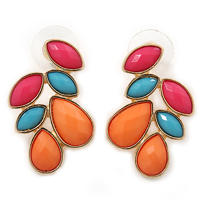 Multicoloured Acrylic Bead Cluster Stud Earrings In Gold Plating - 32mm Length - main view