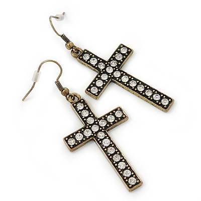 Burn Gold Crystal 'Cross' Drop Earrings - 60mm Length