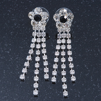 Prom Clear Crystal Daisy With Tassel Dangle Earrings In Rhodium Plating - 60mm Length - main view