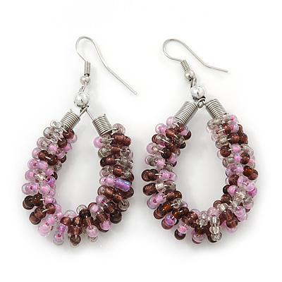 Handmade Glass Bead Oval Drop Earrings In Silver Tone (Purple, Pink, Transparent) - 60mm Length