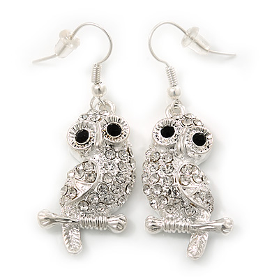 7cm Length Orange Enamel /'Owl/' Drop Earrings In Gold Plating