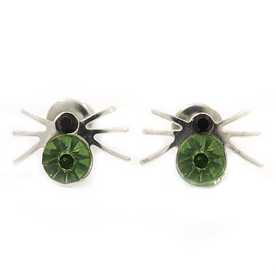 Small Light Green/ Black Crystal 'Spider' Stud Earrings In Silver Plating - 12mm Across
