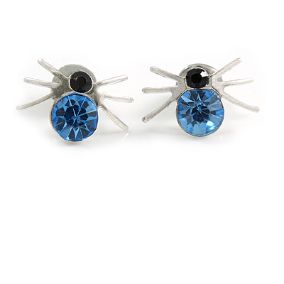 Small Light Blue/ Black Crystal 'Spider' Stud Earrings In Silver Plating - 12mm Across