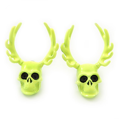 Teen Skull and Antlers Stud Earrings in Neon Yellow - 3.5cm in Height
