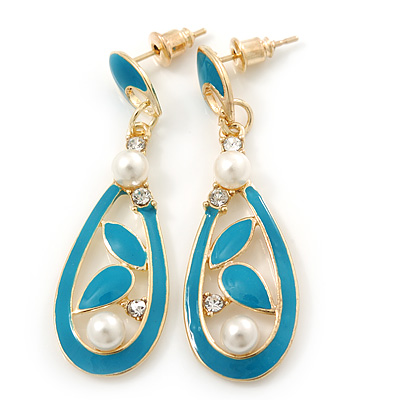 Teal Enamel White Simulated Pearl Teardrop Earring In Gold Plating - 45mm Length - main view