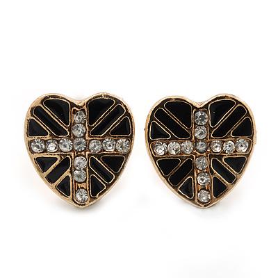 Children's/ Teen's / Kid's Small Black Enamel Crystal 'Heart' Stud Earrings In Gold Plating - 10mm Length